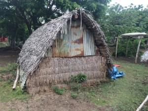 アニワの住民の家、ナタングラという葉っぱで作られています